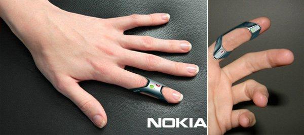 Nokia Fit телефон на пальце
